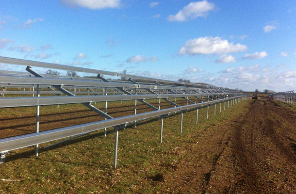 ground screw foundation supports 50MWp solar